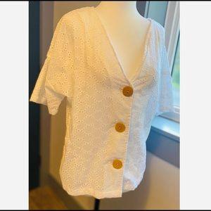 NWT ASOS white short sleeve blouse in broderie